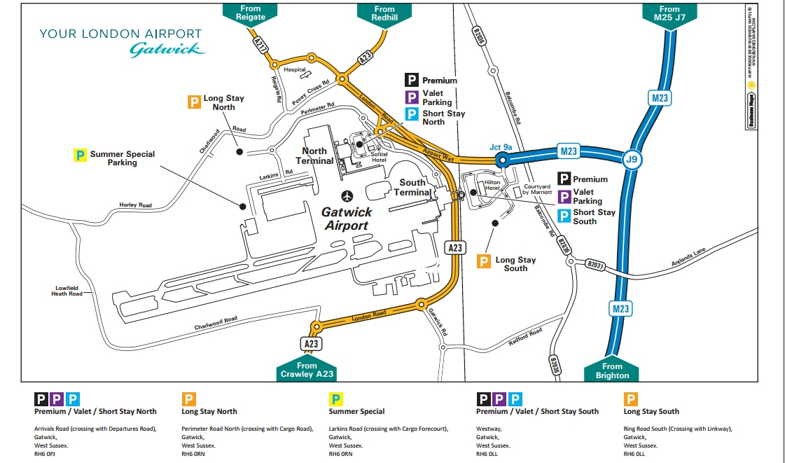 Gatwick Parking Guide Map